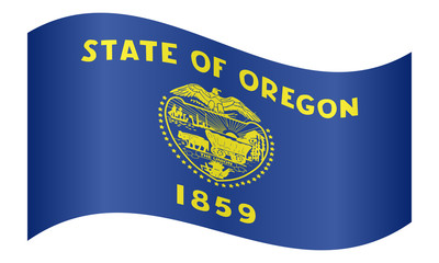 Flag of Oregon waving on white background