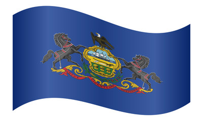Flag of Pennsylvania waving on white background