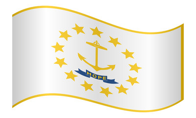 Flag of Rhode Island waving on white background