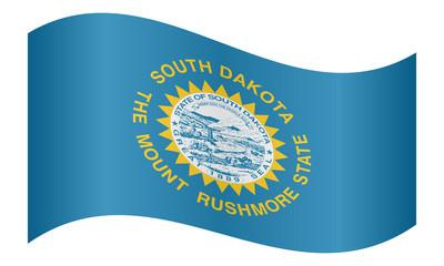 Flag of South Dakota waving on white background