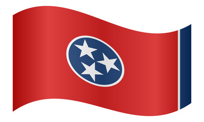 Flag of Tennessee waving on white background