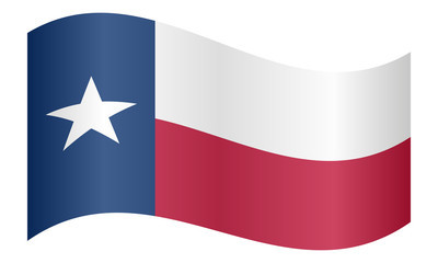 Flag of Texas waving on white background