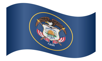 Flag of Utah waving on white background
