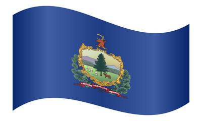 Flag of Vermont waving on white background