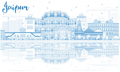 Outline Jaipur Skyline with Blue Landmarks and Reflections.