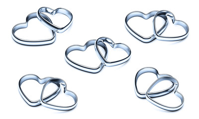 silver heart rings. rings isolated on a white background.