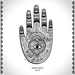 Vector Indian hand drawn hamsa symbol ornament print. Ethnic Man