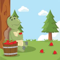 turtle eating strawberry vector illustration design
