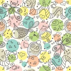 Cute children seamless pattern. Happy vector background