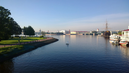 Panorama of St. Petersburg in sunny morning