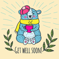 Get well soon card with teddy bear