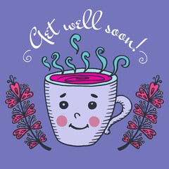 Get well soon card with cup of tea