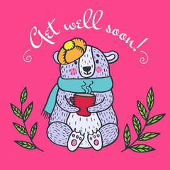 Get well soon card with teddy bear