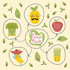 Organic product banner with various happy cartoon fruit and vegetables characters isolated on yellow background. Natural eco friendly products, vegetarian farm food. Hand made poster.