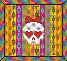 Pattern with skull and ethnic mexican elements. Day of the dead, a traditional holiday in Mexico. For postcard or celebration design. Traditional Latin American patterns and ornaments, colorful