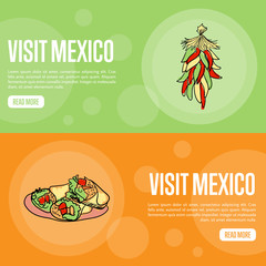 Visit Mexico banners. Bunch of chilli peppers, burritos hand drawn vector illustrations on national colors backgrounds. Web templates with country related symbols. For travel company web page design