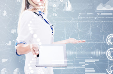Double Exposure, Doctor holding tablet , gray background.