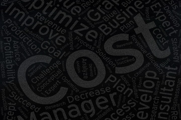 cost ,Word cloud art on blackboard