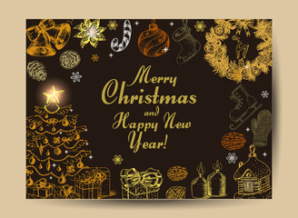 Christmas card with Christmas elements