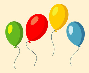 Set of four colorful baloons vector illustration