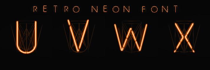 Glowing Neon Alphabet. 3D illustration. Orange neon on a black background