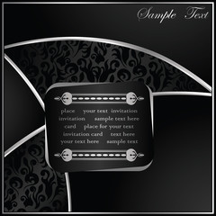 Modern card in black colors. Original design. Floral seamless background