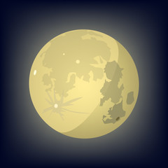 Moon. Yellow moon on a dark background. Vector