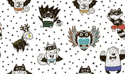 Seamless pattern with Superhero animals. Vector cartoon illustration