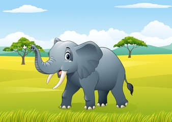 Cartoon funny elephant in the jungle
