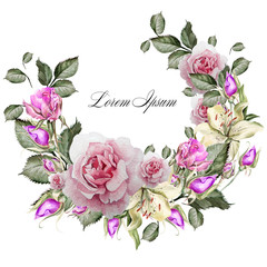 Beautiful watercolor card with flowers roses and orchid. Illustration