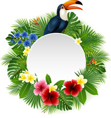 Cartoon funny toucan with blank sign on plant background