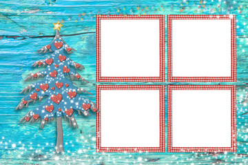 Christmas four empty photo frames card