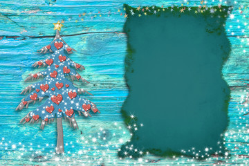 Christmas cute tree cards. Copy space.