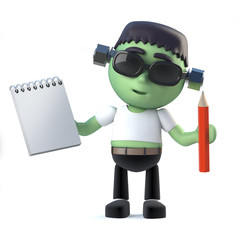 3d Cute frankenstein monster has a notepad and pencil