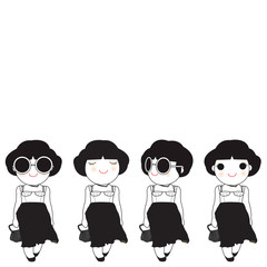 Cute Girls In Black And White Character Paper Note illustration
