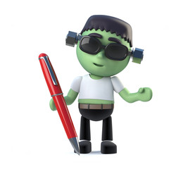 3d Cute Halloween frankenstein monster has a pen