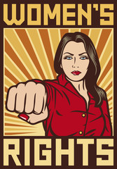 women`s rights poster - pop art woman punching
