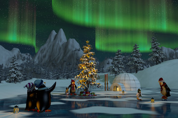 Penguins under the northern lights at Christmas time, 3d render