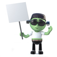 3d Cute Halloween frankenstein monster holding a blank placard