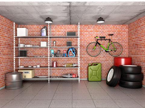 Interior garage with tools, equipment and wheels. 3d illustratio