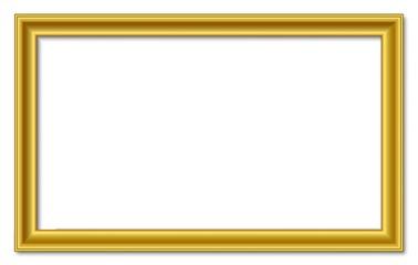 16to9 16:9 panorama wide golden vector retro picture frame isolated on white background / 16 zu 9 bilderrahmen breit gold vektor retro isoliert