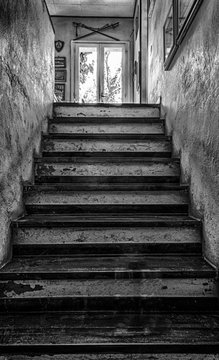 Creepy stairs in black and white