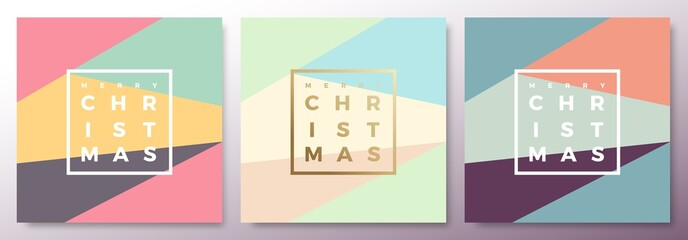 Merry Christmas Abstract Minimalistic Vector Cards Set. Modern Typography and Soft Realistic Shadows.