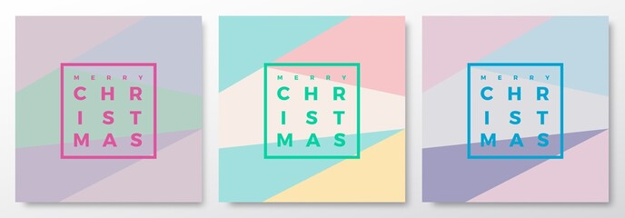 Merry Christmas Abstract Minimalistic Vector Cards Set. Modern Typography, Pastel Colors and Soft Realistic Shadows.