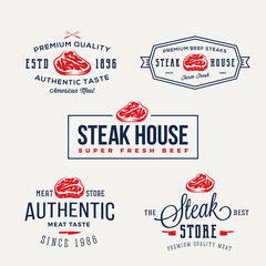 Steak House or Meat Store Vintage Typography Labels, Emblems, Logo Templates. Signs Set.