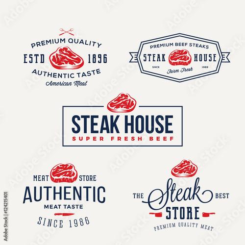 steak house or meat store vintage typography labels emblems logo