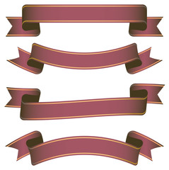 set of dark red ribbon banners