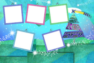Christmas five blank photo frames card