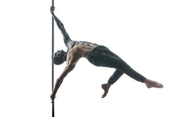 Male pole dancer with body-art on pylon Wall mural