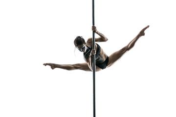 Obraz Female pole dancer posing in studio - fototapety do salonu